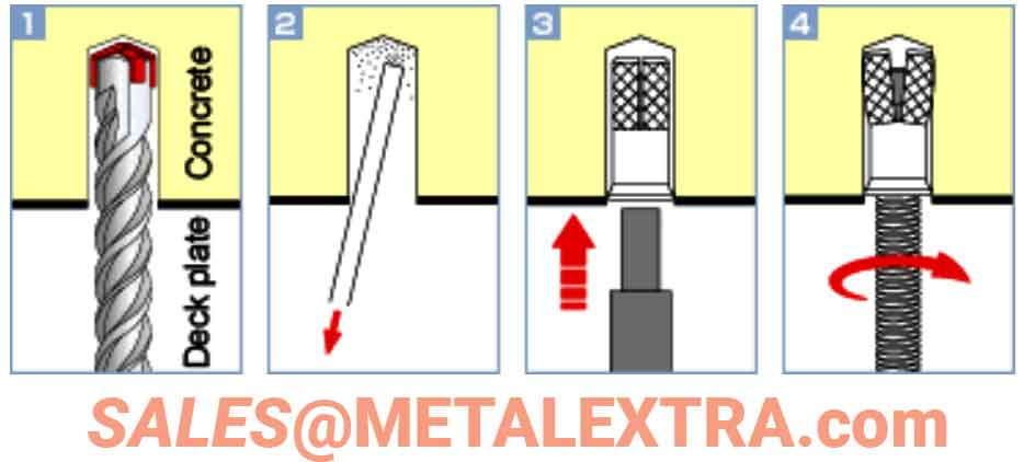 Contoh Instalasi (Unicon Anchor): Bor lubang di atas pelat dek dengan diameter lubang tertentu dan kedalaman lubang tertentu. Hapus serutan dengan pengumpul debu atau peniup debu. Pukul kerucut dengan batang pemukul untuk mengatur jangkar. Kencangkan baut ulir penuh, dll. Ini menyelesaikan pemasangan.